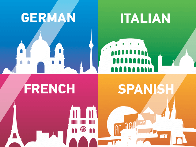 Language programs in German, French, Spanish, Italian